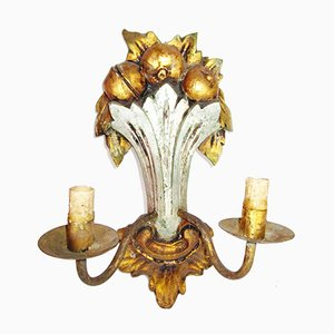 Barocke Mid-Century Wandlampe aus Holz & Eisen