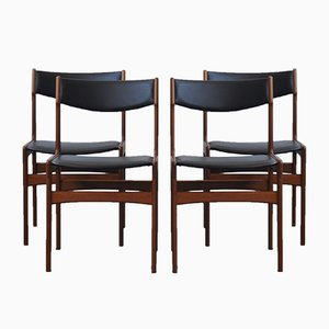 Mid-Century Danish Teak Chairs by Erik Buch, Set of 4