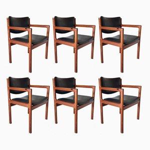 Chaises de Salle à Manger en Teck et Cuir, 1960s, Set de 6