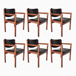 Teak and Leather Dining Chairs, 1960s, Set of 6