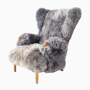 Vintage Sheepskin Wingback Armchair from Parker Knoll