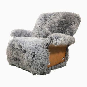 Vintage Sheepskin and Teak Saddle Armchair from G-Plan