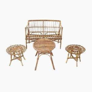 Vintage Wohnzimmergarnitur aus Bambus & Rattan, 1960er