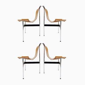 Sillas modelo T de Douglas Kelly, Ross Littell & William Katavolos, años 60. Juego de 4