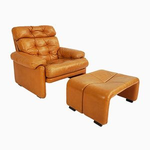 Juego de sillón y otomana Coronado vintage de cuero de Tobia & Afra Scarpa para B&B Italia