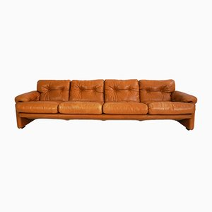 Vintage Four-Seater Leather Sofa by Tobia & Afra Scarpa for B&B Italia