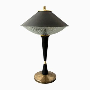 Mid-Century Italian Modern Black Brass Table Lamp, 1960s