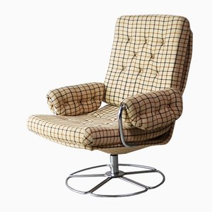 Mid-Century Danish Checkered Wool Swivel Lounge Chair by Bruno Mathsson, 1970s