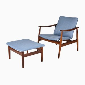 Vintage Model 138 Armchair & Model 137 Stool by Finn Juhl for France & Søn, 1950s