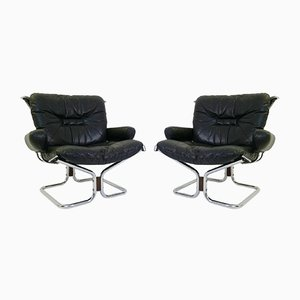 Chrome & Leather Sling Chairs by Ingmar Relling for Westnofa, 1960s, Set of 2