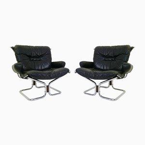 Sling Chairs mit verchromtem Metallgestell & Sitz aus Leder von Ingmar Relling für Westnofa, 1960er, 2er Set