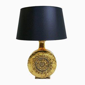 Lámpara de mesa de cerámica dorada, años 70