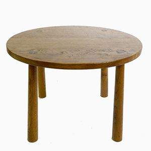 Small Round Wooden Coffee Table, 1960s