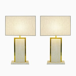 Belgian Travertine Table Lamps by Camille Breesch, 1970s, Set of 2