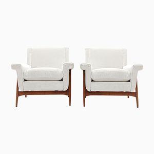 Italienische Mid-Century Sessel mit weißem Samtbezug von Attilio Allievi für Gilberto Cassina, 1950er, 2er Set
