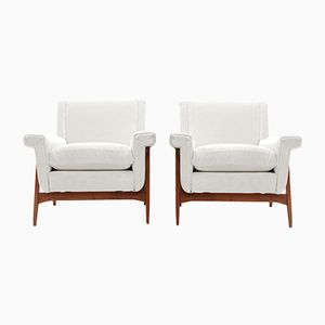 Mid-Century Italian White Velvet Armchairs by Attilio Allievi for Gilberto Cassina, 1950s, Set of 2