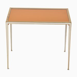 Brass Side Table with Golden Mirror Glass Top from Vereinigte Werkstätten, 1960s