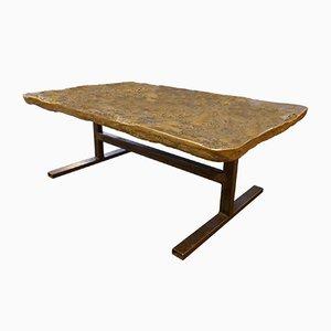 Table Basse Brutaliste en Bronze Doré, 1970s