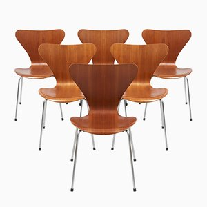 Teak Plywood Model 3107 Butterfly Chairs by Arne Jacobsen for Fritz Hansen, 1968, Set of 6