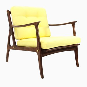 Mid-Century Italian Armchair with Yellow Cushions, 1950s