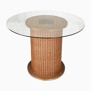 Table de Salle à Manger Vintage en Osier et Verre