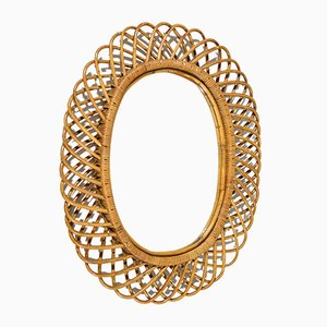 Vintage Italian Wicker Mirror, 1950s