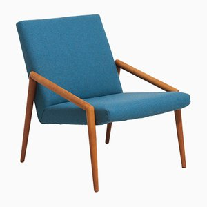 Blue Wool Easy Chair with Teak Armrests, 1950s