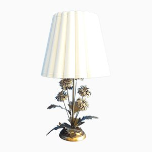 Large American Brass Flowers Table Lamp, 1960s