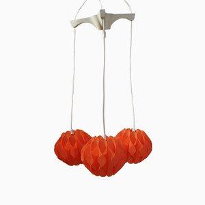 Orangene Vintage Kaskaden-Deckenlampe mit 3 Leuchten