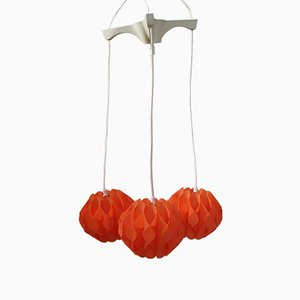 Vintage Orange Three-Bulb Cascade Ceiling Lamp