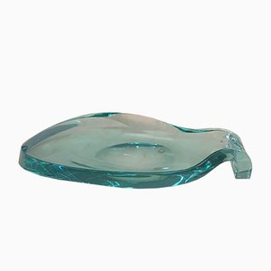 Large Glass Leaf Vide Poche, 1950s
