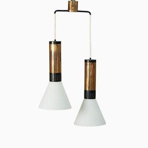 Lámpara colgante doble vintage de Stilnovo, años 50