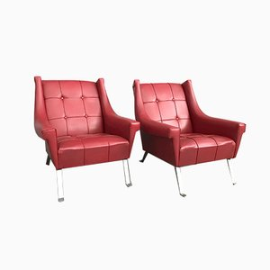 Mid-Century Leatherette Armchairs, 1950s, Set of 2