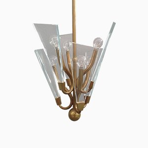 Glass and Brass Chandelier from Fontana Arte, 1950s