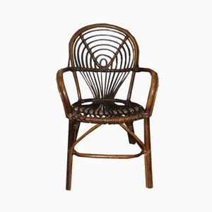 Dekorativer Beistellstuhl aus Rattan & Korbgeflecht, 1970er
