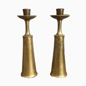 Danish Brass Candle Holders by Jens Quistgaard for Dansk, 1950s, Set of 2
