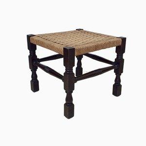 Antike Hocker aus dunklem Holz & Seilgeflecht, 2er Set