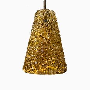 Lampe à Suspension Mid-Century en Verre Givré par Carl Fagerlund pour Orrefors, 1960s