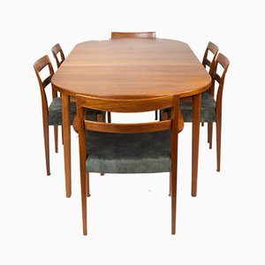 Teak Ove Dining Table & Garmi Chairs by Nils Jonsson for Hugo Troeds, 1960s