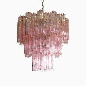 Lámpara de araña vintage de cristal de Murano con tres niveles de Mazzega