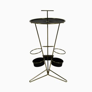 Mid-Century Modernist Perforated Metal Side Table with Bottle Holders