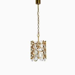 Lámpara colgante pequeña de latón y cristal de Palwa, años 60