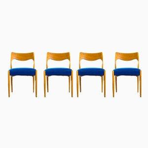 Beistellstühle mit Samtsitz von Niels Otto Møller, 1970er, 4er Set