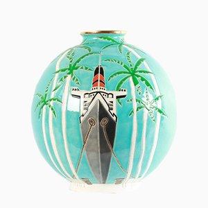 Grand Vase Boule Coloniale par Danillo Curetti pour Longwy, 1980s