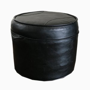 Mid-Century Black Saddle Leather Pouf