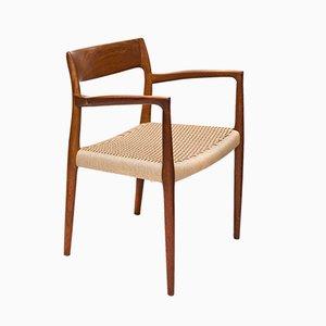 Modell 57 Armlehnstuhl mit Gestell aus Teak von N. O. Møller, 1960er