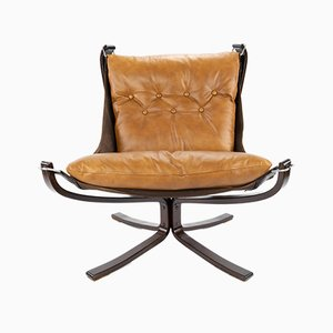 Mid-Century Leather Falcon Swivel Chair by Sigurd Ressell for Vatne Møbler, 1970s