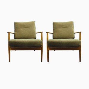 Antimott Sessel mit Gestell aus Nussholz von Wilhelm Knoll, 1950er, 2er Set