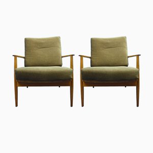 Walnut Antimott Armchairs from Wilhelm Knoll, 1950s, Set of 2