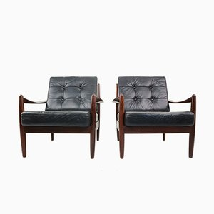 Black Leather Armchairs, 1960s, Set of 2